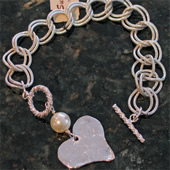 Silver Hammered Heart Bracelet with Pearl