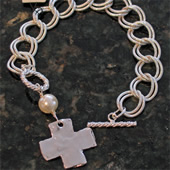 Silver Hammered Cross Bracelet with Pearl