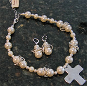 Pearl and Silver Cross Necklace and Earrings