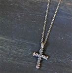 Sterling Silver Dew Drop Cross Necklace