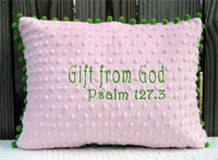 Gift from God Pink and Green Minky Pillow