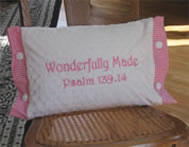 Pink Wonderfully Made Scripture Pillow for Girl